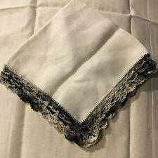 Antique Vintage Linen Hand Crochet Lace Edge Handkerchief Hanky Crochet HA5