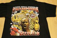 Vintage 90s Chicago Bulls Tee Black T-shirt Micheal Jordan Bootleg Rap AA404
