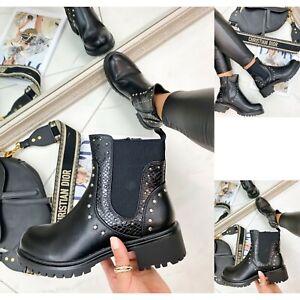 Womens Ladies Studded Ankle Boots Chelsea Block Heel Booties Biker Shoes Size