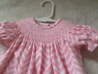 READY TO SMOCK RED CHEVRON PRINT BISHOP DRESS SIZES 3MOS TO 4T