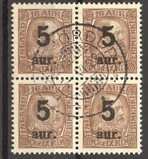 Iceland 1921 Overprints Scott # 130, the 5 A, VF ++ used Block of 4, no faults,