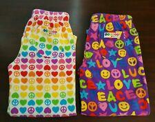 2 Pants Pajama Lounge Fleece Kid Girl Melissa & Doug Love Peace S/Small 7/8- EUC