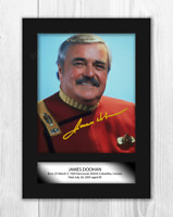 James Doohan (1) Star Trek's Scotty A4 signed picture poster. Choice of frame.