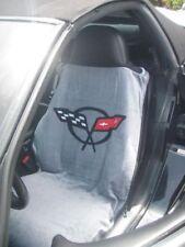 1997-2004 CHEVROLET CORVETTE C5 GRAY SEAT TOWEL ARMOUR COVER FLAG LOGO NEW