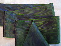 "3"" WIDE GERMAN MOIRE RIBBON - RAYON - FOREST GREEN / PLUM"