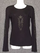 SLEDGE USA Black Gray Graphic Stars Tunic Top Sweater SZ M