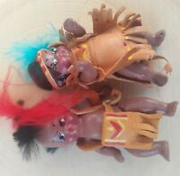 Vintage Bisque Porcelain Native American Indian Papoose Dolls Leather Buckskin