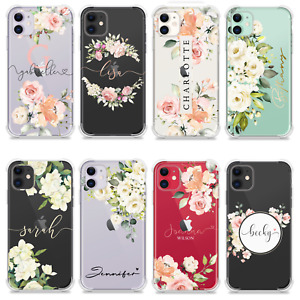 PERSONALISED CASE FLORAL NAME INITIALS GIFT SILICONE COVER FOR IPHONE SE 12 11