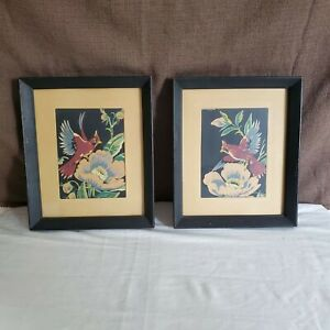 Vintage Pair of Cardinal Prints, Wood Cut Style 1950's Framed A Lambert Product