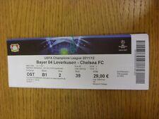 23/11/2011 Ticket: Bayer Leverkusen V Chelsea [Champions League] (light fold). T