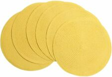 New listing 6 Pcs Round Braided Place Mats Woven Washable for Dining Kitchen Tables Yellow