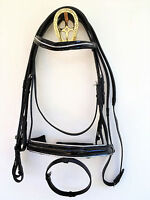 BLACK PATENT LEATHER BRIDLE WITH SILVER PIPING. PONY, COB, FULL & EXTRA FULL