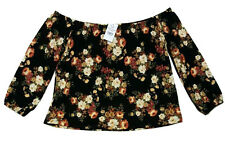 NWT BLACK FLORAL OFF SHOULDER TOP WOMEN'S SHIRT BLOUSE ROSES RED FLOWERS LARGE L