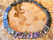 vintage SALAZAR signed 1955 taxco mexico sterling silver and abalone necklace