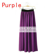New Women Retro Chiffon Pleated Double Layer Skirt Long Elastic Waist Maxi Dress