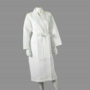 Unisex Luxury White Waffle Bath Robe Ladies / Mens Hotel Dressing Gown