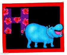 "3.5""  ALPHABET ABC'S  LETTER H HIPPO  NAME MONOGRAM FABRIC APPLIQUE IRON ON"
