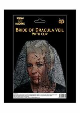 Bride Of Dracula Veil Zombie Bride With Hair Clip Halloween Fancy Dress P8510
