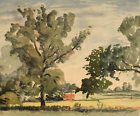 Frank Fidler, Country Hedgerow – Original mid-20th-century watercolour painting