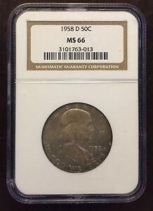 1958-D Franklin Half Dollar NGC MS-66, Buy 3 Get $5 Off!! R6151