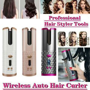 Cordless Wireless Auto Rotating Hair Curler Hair Waver Curling Iron LCD Ceramic
