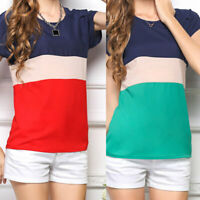 Women Summer O-Neck T-Shirt Color Block Loose Blouse Office Lady Pullover Tops