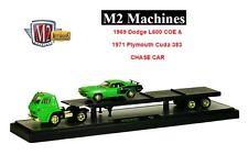 M2 MACHINES AUTO-HAULERS 1969 Dodge L600 COE & 1971 Plymouth Cuda 383 Chase Car