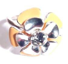 Pilgrim Denmark Ring Adjustable Silver Tone Cream Enamel Flower Clear Rhinestone