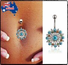Crystal Flower Rhinestone Gift Navel Belly Button Bar Barbell Ring Body Piercing