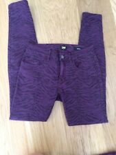 LEE Womens Jeans Mid Licks Amethyst Zebra Size 9 10 Skinny Leg Purple Animal