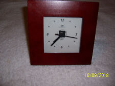 Clock With Wide Brown Wood Frame And Standee - New Battery - Runs Great!