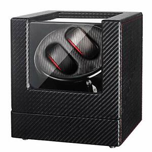 Sepano Double Automatic Watch Winder Box with Black Carbon Fiber Pattern for 2