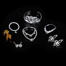 10xPuppe Kunststoff Silber Krone Halskette Armbänder Headwear für Barbie CMGE