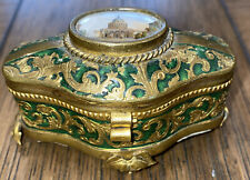 18th Century Antique French Gilt Green Enameled Vanity Box Painted Medallion