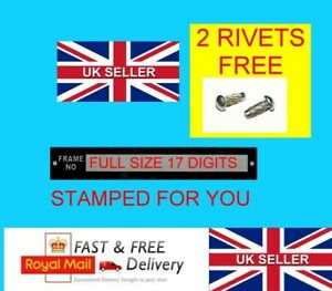 STAMPED UNIVERSAL Motorbike ID FRAME plate vin Tag CHASSIS QUAD 2 FREE RIVETS #1