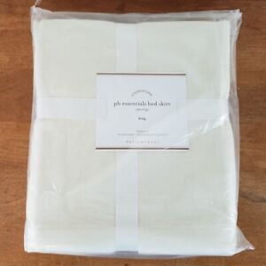 """Pottery Barn PB Essentials Bed Skirt Foundations, King, Off White Ivory 14"""" Drop"""