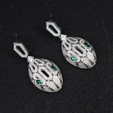 Earrings Nails Head Snake Eyes Cz Green Encrusted Marriage G6 180