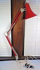 Vintage Mid Century Articulating Swing Arm Drafting Desk Lamp Luxo Ledu Red RARE