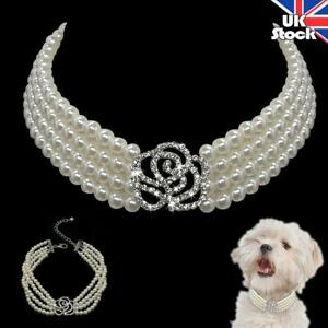 Pet Puppy Rhinestone Pearl Necklace Dog Cat Party Bling Collar Accessories S M L
