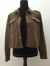 Womens BNWT Green Khaki Hipster Utility Military Shirt Festival Jacket Size 12