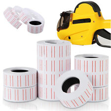10 Rolls Price Label Paper Tag Sticker Mx-5500 Labeller Gun White Red Line Gnca