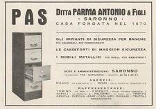 Z1318 Casseforti PAS - Saronno - Pubblicità d'epoca - 1936 Old advertising