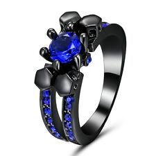 Blue Sapphire 10kt Black Gold Filled Wedding Band Skull Ring Women's Jewelry Sz8