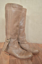 JIGSAW Brown leather knee high buckle detail boots 7 40