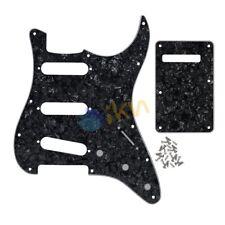 Set of 4Ply Pearl Black Standard FD Style Strat Guitar SSS Pickguard Back Plate