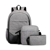 3PCS Men Women Boys Girls Canvas School Backpack Shoulder Bag Bookbags Travel