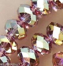 148pc 3x4mm Faceted Rondelle Crystal Glass Loose Spacer Beads Purple AB