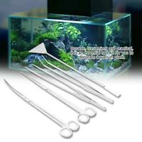 5Pcs Aquarium Fish Tank Plant Tool Stainless Steel Scissors Tweezers Scraper AM