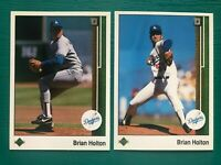 1989 Upper Deck BRIAN HOLTON Dodgers Error & Corrected Baseball Card Lot #72