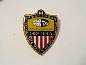 NOS VINTAGE 1984 SILVER BROOM U.S. WORLD CHAMPIONSHIP DULUTH SPORTS CURLING PIN